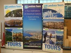 Banner stands for LandSea Tours  www.fastsigns.com/653 #fastsigns #banners Fast Signs, Create A Company, Destinations, Banner Stands, Tours, Trade Show, Banners, Vancouver, Display