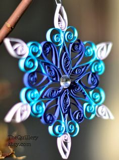 Handmade Quilled Blue Snowflake Christmas Ornament by TheQuillery, $6.00