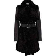 Karen Millen Faux Pony Blanket Coat (186.935 HUF) ❤ liked on Polyvore featuring outerwear, coats, jackets, black, coats & jackets, shiny coat, faux coat, karen millen and karen millen coats
