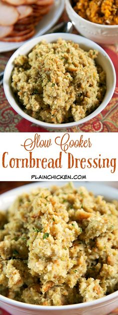 {Slow Cooker} Cornbread Dressing - delicious southern cornbread dressing made in the slow cooker. Make the cornbread ahead of time for easy meal prep. Takes minutes to assemble and is ready in about 4 hours. Perfect side dish for your Thanksgiving meal! #Thanksgiving #cornbreaddressing #slowcooker