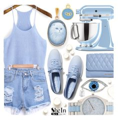 """""""Light blue- Shein Christmas sale! visit"""" by pastelneon ❤ liked on Polyvore featuring Michael Kors, KitchenAid, Vera Bradley, Kevin Jewelers, Links of London and Keds"""