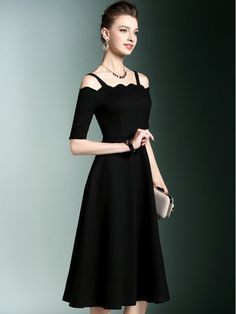 Black Cold Shoulder Midi Dress With Scalloped Neckline Sexy Dresses, Cute Dresses, Beautiful Dresses, Fashion Dresses, Prom Dresses, Ladies Dresses, Black Dress With Sleeves, Dresses With Sleeves, Cocktail Dress Classy Evening