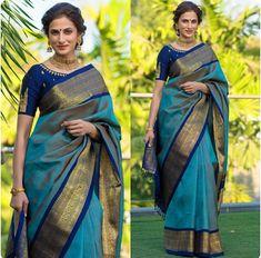 You searched for kanchipuram saree - Online Sale India Karen Willis Holmes, Sonakshi Sinha, Indian Dresses, Indian Outfits, Indian Clothes, Elie Saab, Blue Silk Saree, Navy Blue Saree, White Saree