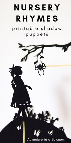 Use these printable shadow puppets to stage a shadow puppet play for children, based on famous nursery rhymes! Included are Itsy Bitsy Spider, Mary Had a Little Lamb, Jack and Jill, and more. Shadow Art, Shadow Play, Diy Handmade Toys, Diy Toys, Fairy Tale Activities, Drama Activities, Nursery Rhymes Collection, Amigurumi For Beginners, Puppets For Kids