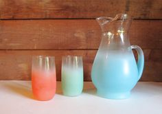 Blendo Glass Juice Pitcher and Two Glasses  by ThreeBestGirls