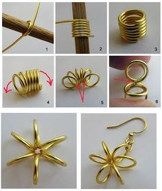 DIY Wire Earrings--so much potential, instead of jump rings! Wire Jewelry Making, Jewelry Making Tutorials, Wire Wrapped Jewelry, Earring Crafts, Jewelry Crafts, Handmade Jewelry, Earrings Handmade, Jewelry Ideas, Wire Jewelry Designs
