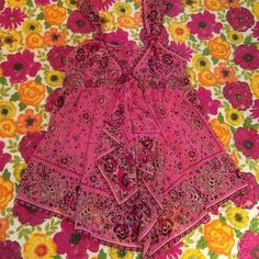 Betsey Johnson Pink Bandana Babydoll Lingerie New without tags. Adjustable straps.  so cute to die for! Betsey Johnson Intimates & Sleepwear Chemises & Slips