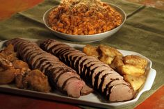 Spiced pork tenderloin with roasted apples and pumpkin risotto