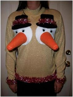 30 Ugly Christmas Sweater Ideas OMG this is so funny! I am definitely doing this if I ever go to an ugly sweater party!