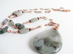 Grey Stone Copper Necklace African Bloodstone Labrodorite Freshwater Pearl Handmade Links Wire Wrapped - pinned by pin4etsy.com