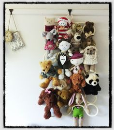 KOMPLEMENT IKEA clothes hanger used to store and display soft toys....great idea!!