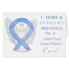 Periwinkle Awareness Ribbon Custom Angel Cards
