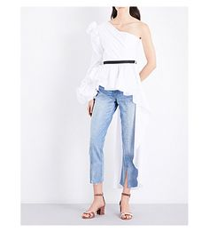 JOHANNA ORTIZ - Malina one-shoulder cotton-poplin top | Selfridges.com