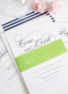 Navy blue and lime green wedding invitations with stripes and pretty script font - http://www.shineweddinginvitations.com/blog/navy-blue-wedding-invitations-script-names-green-belly-band