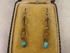 Antique Long Art Nouveau 9K Gold, Turquoise, Pearl Earrings & Matching Pin
