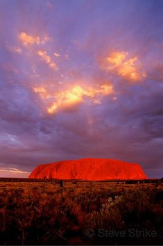 Uluru Sunset, Australia Was awe-inspiring. Really is this red. Try not to go in summer! I think it was 43 in the shade. Too hot to climb it, not that I would have anyways!