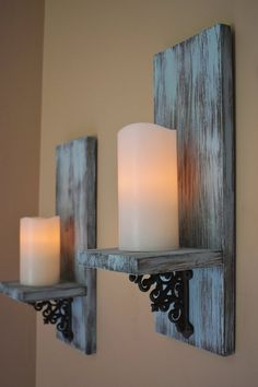 Fantastic Free rustic Wall Sconces Suggestions Usually, if you have tedious, empty rooms, the initial assumed will be to liven the item plan craft, wall mirr. Rustic Wall Sconces, Candle Wall Sconces, Rustic Wall Decor, Rustic Walls, Wall Sconce Lighting, Bedroom Rustic, Rustic Candles, Rustic Candle Holders, Candle Holder Decor