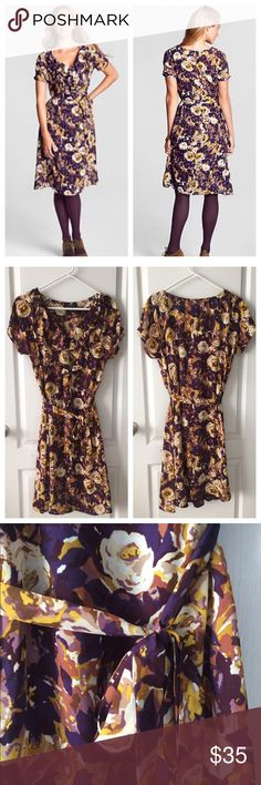 Lands End • Floral Dress Adorable floral great from lands end. People and yellow tones, ruffled neckline with tie belt. Worn once. In great condition. No stains or holes. No trades. Lands' End Dresses Midi