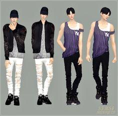 SIMS4 marigold: male_black&white jeans_블랙 앤 화이트 청바지_남자 의상