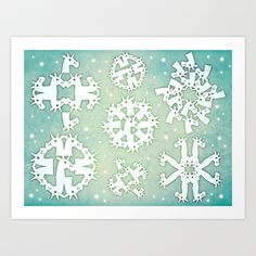 SnowFlakes Unicorn Art Print by That's So Unicorny - $14.99
