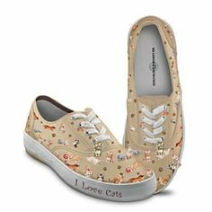 """Womens Canvas Sneakers with Cat Pictures - Adorable """"I Love Cats"""" tennis shoes would be a great gift for my one-cat-shy-of-being-a-crazy-cat-lady sister!  $69.95"""