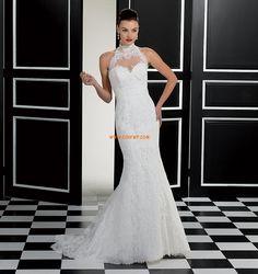 Retro Mermaid High Neck Lace Floor Length Wedding Dress With Appliques Cheap Wedding Dresses Uk, Elegant Wedding Gowns, Perfect Wedding Dress, Bridal Wedding Dresses, Bridal Lace, One Shoulder Wedding Dress, Kirchen, Blond, Marie