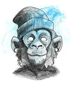 Cool monkey face on Behance – Graffiti World Graffiti Tattoo, Graffiti Art, Graffiti Drawing, Animal Sketches, Animal Drawings, Drawing Sketches, Pencil Drawings, Art Drawings, Drawing Ideas