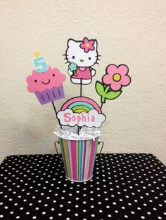 Hello Kitty Birthday Decoration Centerpiece kitty decoration suggestions do it yourself Piñata Hello Kitty, Hello Kitty Baby Shower, Hello Kitty Themes, Hello Kitty Birthday Theme, Hello Kitty Centerpieces, Decoracion Hello Kitty, Minnie Mouse Birthday Decorations, Gata Marie, Festa Party