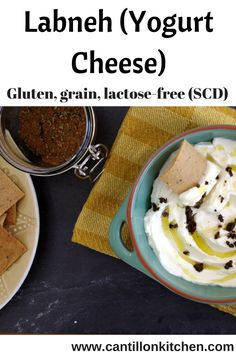 "Labneh (yoghurt cheese) - a ""cream cheese"" but is lactose-free and suitable for the Specific Carbohydrate Diet. This goes great with my grain-free crackers! Make Almond Milk, Specific Carbohydrate Diet, Middle Eastern Dishes, Cheese Spread, Lactose Free, Spice Mixes, Appetizers For Party, Serving Dishes, Thanksgiving Recipes"