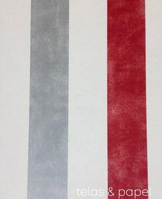 coordone-blanca gomez. rojo oscuro,blanco y gris plata. El mundo del papel pintado y Telas & papel