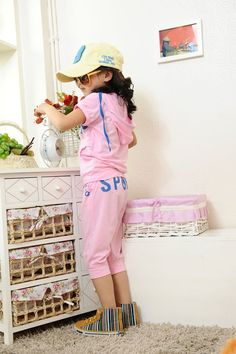 Aliexpress.com : Buy Free Shipping Promotion Hot Summer Girls Casual Suit Hooded Letter Print Summer Wear K0105 from Reliable Girls Summer Clothing Set suppliers on SICIBAY - Kids' Clothing:Selling for Donating