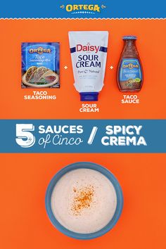 This Spicy Crema recipe is an easy, simple sauce that goes well on fish tacos, beef tacos, chicken tacos—any tacos, really! It also works as a snack dip recipe for people who like spicy sauces. It only takes two steps to make: Ingredients: 1 Taco Seasoning Packet, Taco Sauce, Mexican Sour Cream, Daisy Sour Cream, Mexican Food Dishes, Mexican Food Recipes, Cooking Crab Legs, Cooking Corn, Cinco De Mayo