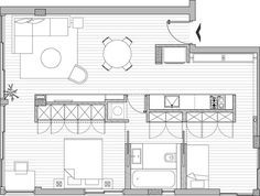 Apartments, Stunning 59 Square Meters Minimalist Apartment in Tel Aviv: The Sketch Of The Plan For Small Apartment Small Apartment Plans, Small Apartment Interior, Small Apartment Design, Apartment Floor Plans, Apartment Renovation, Apartment Layout, Small Apartments, Apartment Plants, Studio Apartments