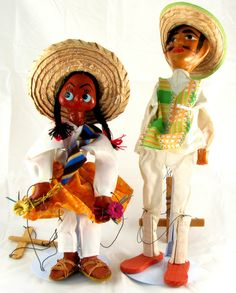 MEXICAN MARIONETTE PUPPETS vintage straw sombrero man & woman Mexico folk art