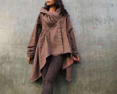 The look of love...Brown thick linen/cotton Autumn Jacket dress Size M