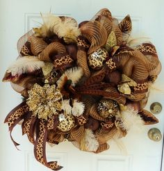 Leopard Cheetah Feather Safari Wreath ~ Deco Mesh Wreath ~ Fall Wreath ~ XXL