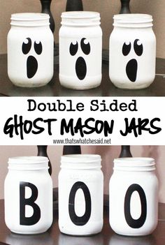 Double Sided Ghost Mason Jars at thatswhatchesaid.net. Use as lanterns, vases, candy dishes or a table centerpiece!