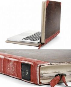 Just a gorgeous vintage book/laptop cover upcycle - and theives are much less keen on old literature than cool new gadgets!! so clever!