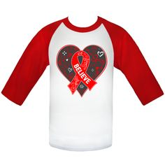 Get inspired for the cause with our line of Heart Disease Believe Heart Ribbon Slogan Baseball Jerseys  #HeartDiseaseAwareness
