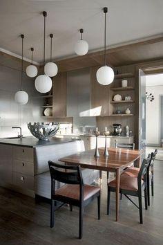 PARIS - jean louis denoit breakfast nook wood floor modern contemporary kitchen wood cabinetry banquette