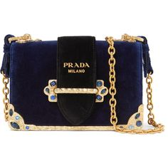 Prada Cahier crystal-embellished velvet shoulder bag featuring polyvore women's fashion bags handbags shoulder bags clutches prada purses navy navy blue handbags chain strap purse navy blue shoulder bag prada shoulder bag velvet purse