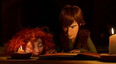 Hiccup and Merida doing some late night studying.
