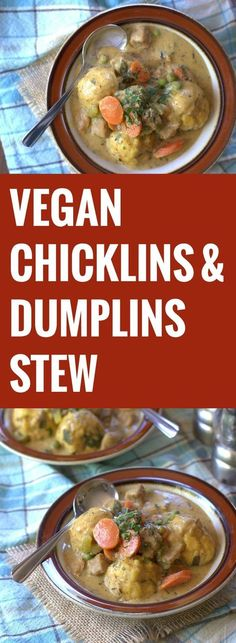 Tender rosemary dumplings, vegan chicken and veggies are simmered in a rich herbed broth in this hearty vegan chicken and dumplings stew.