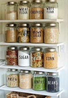 Kitchen Labels, Kitchen Pantry Design, Kitchen Jars, Pantry Labels, Jar Labels, Home Decor Kitchen, New Kitchen, Kitchen Designs, Smart Kitchen