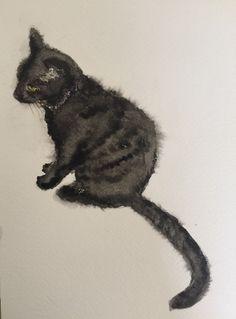 Fuzzy watercolor cat