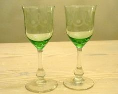 Antique Wine Glasses | Antique wine glasses, pair of 19th century green wine glasses,pair of ...