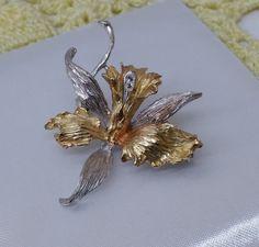 Vintage Broschen - Brosche Silber 925 teilvergoldet 2 Kristalle SB262 - ein…