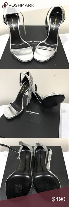 Saint Laurent Jane Ankle strap glittery silver worn only once and still in perfect condition Saint Laurent Shoes Heels