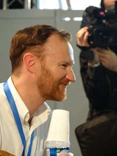 Mark Gatiss @ Comic Con Paris...love the nose all crinkled.