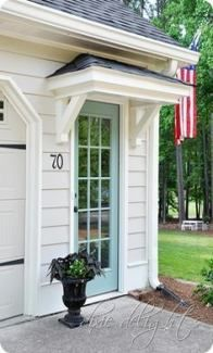 Portico over side entry garage door . maybe create similar outside door entry in to our garage, but on side of house - love the covered portico detail over entry (but would have different door) Exterior Paint, Exterior Design, Exterior Doors, Garage Exterior, Entrance Doors, Garage Doors, Entrance Ideas, Garage Door Colors, Door Entryway